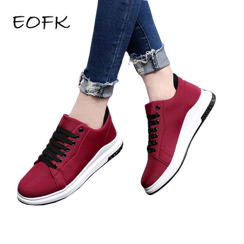 EOFK New Spring Autumn Women Casual Sneakers Women's Flats Shoes Woman Flat Shoes Round Toe Lace Up Female Footwear flat women autumn shoes woman casual lace up flats comfortable round toe loafers shoes flat shoes women