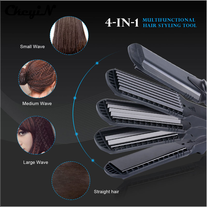 4-in-1 Interchangeable Plates Fast Hair Straightener Flat Iron Hairdressing Styling Wave Perm Rod Corn Hair Clip Curler Maker jose eber ceramic series flat iron straightener 1 1 4 in 1 25 in floating plates in red