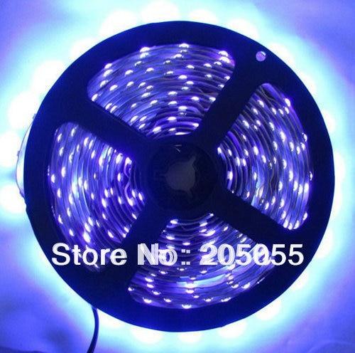 16ft 5M UV 395nm 3528 SMD ultraviolet Purple 300 LED Flexible Strip Light 60leds/Meter Waterproof IP65 12V