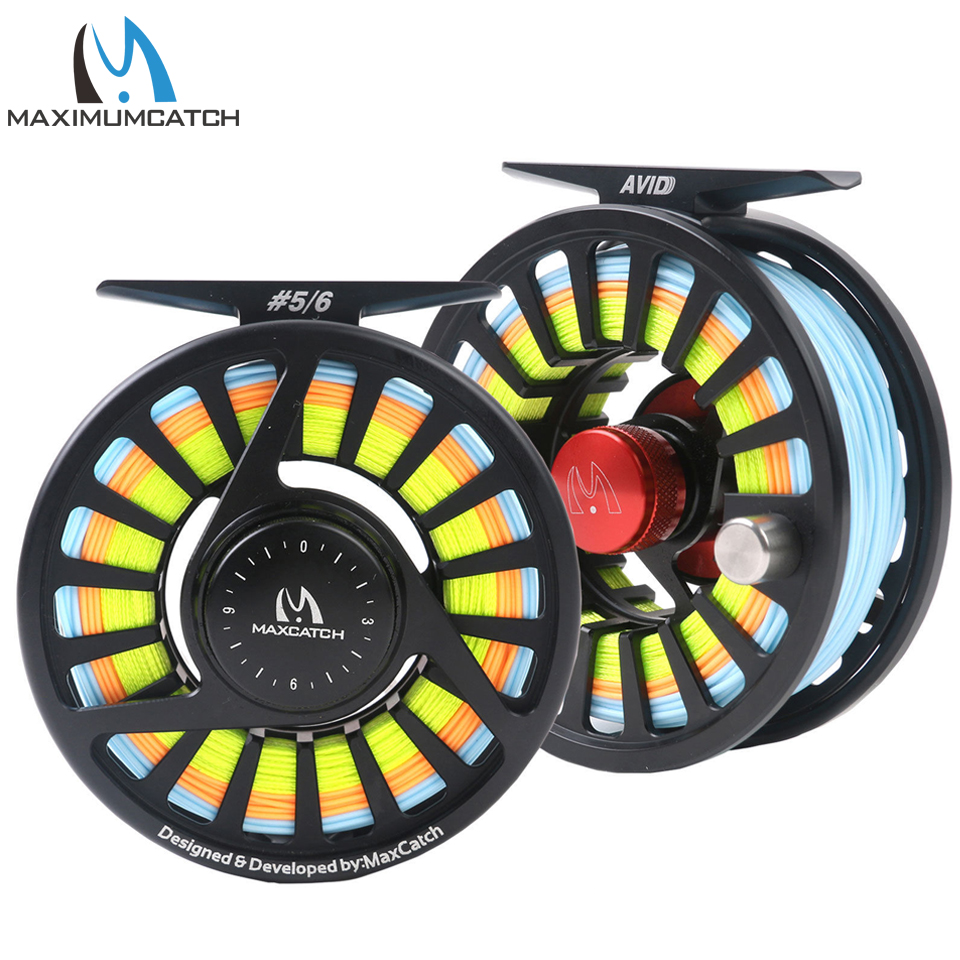 Maximumcatch 5/6WT Pre-Spooled Fly Reel Combo Machined Aluminium Micro Adjusting Drag Fly Fishing Reel With Fly Lines maximumcatch 5 6wt fly fishing combo 9ft fly rod and avid pre spooled reel outfit
