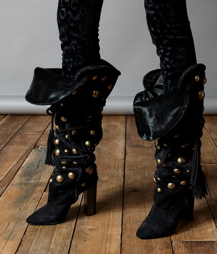 Fashion Black Suede Leather Women Pointy Toe Knee High Boots Golden Studs Ladies Super High Chunky Heel Boot Lace Up Knight Boot cicime summer fashion solid rivets lace up knee high boot high heel women boots black casual woman boot high heel women boots