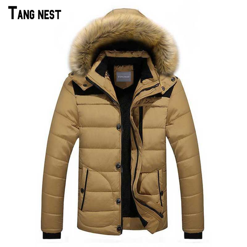 TANGNEST Mens Warm Coats 2018 New Fashion Men Casual Fur Hooded Coat Male Winter Thicken Solid Parkas Oversized L-4XL MWM1480