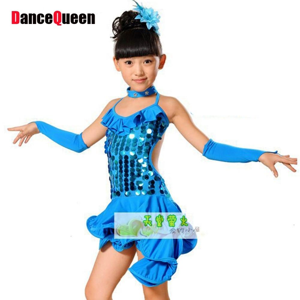 ae063546cdf05 2018 اللاتينية السالسا فساتين 4 ألوان الملابس للرقص S-XXXL Roupa Infantil  الأنثوية الفتيات اللاتينية الرقص ازياء شحن مجاني