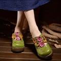 2016 vintage ручной работы из натуральной кожи тапочки платформы клинья женщин тапочки носком покрытия национальный цветок тенденция сандалии