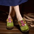 2016 vintage handmade genuine leather slippers platform wedges women slippers toe cap covering national trend flower sandals