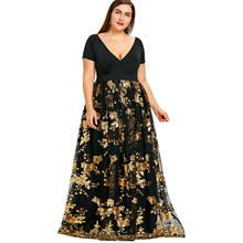Women's Deep V Neck Floral Sparkly Maxi Dress