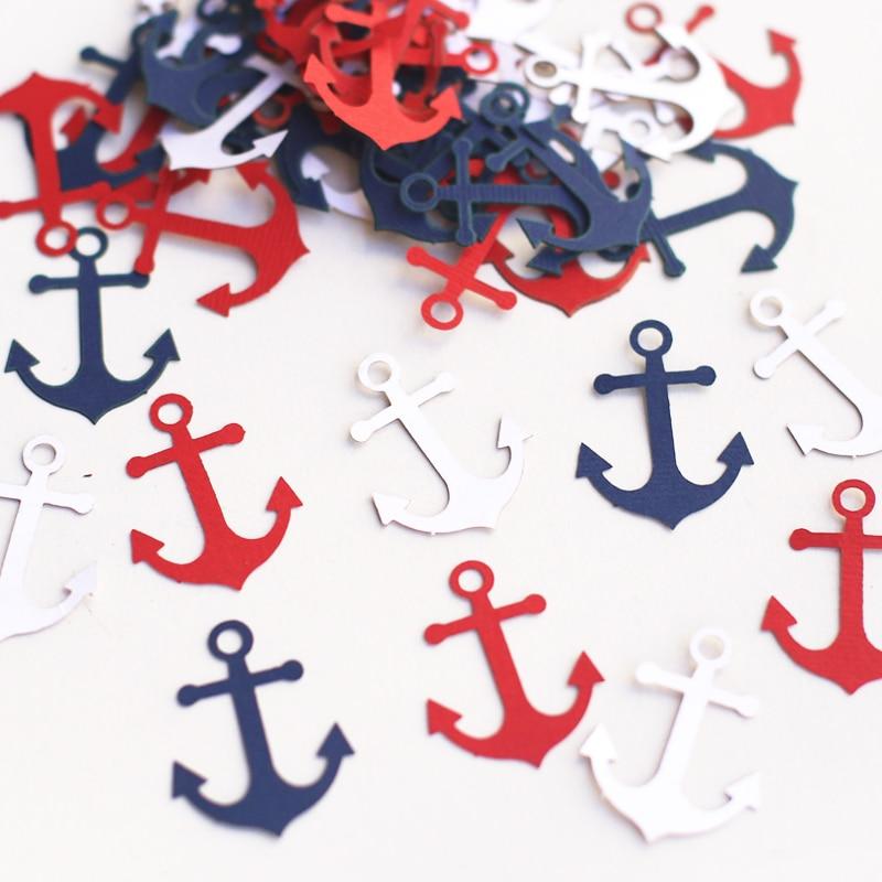 100 Anchor Confetti For Nautical Theme & Beach Theme