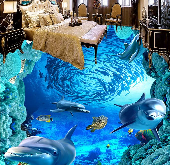 Custom 3d Floor Painting Dolphin Pvc Vinyl Flooring Wall
