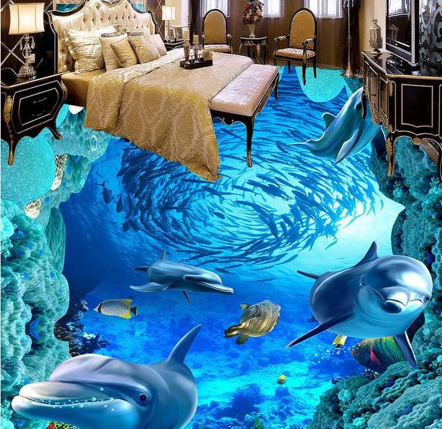Custom 3d floor painting dolphin pvc vinyl flooring wall for 3d pvc wallpaper