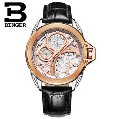 2016 Hot Sale Men Watches Top Brand Luxury Wristwatches Binger Military Leather Sports Watch Japanese Quartz