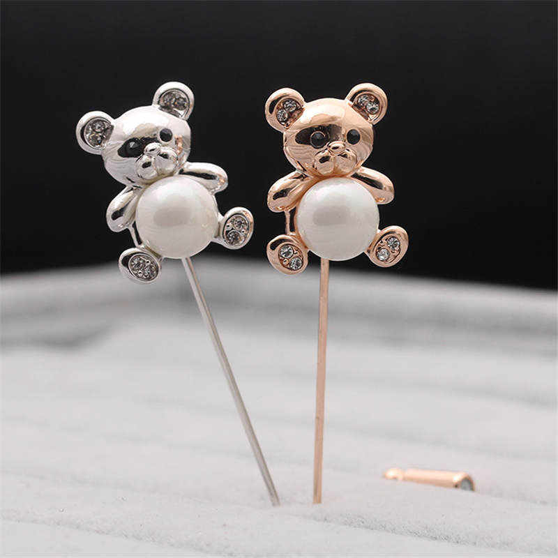 DoreenBeads Lovely Bear Shape Badge with Imitation Pearl Beads Safety Pin Brooch Cardigan Sweater Bag Hat Deco 2 Styles 1PC