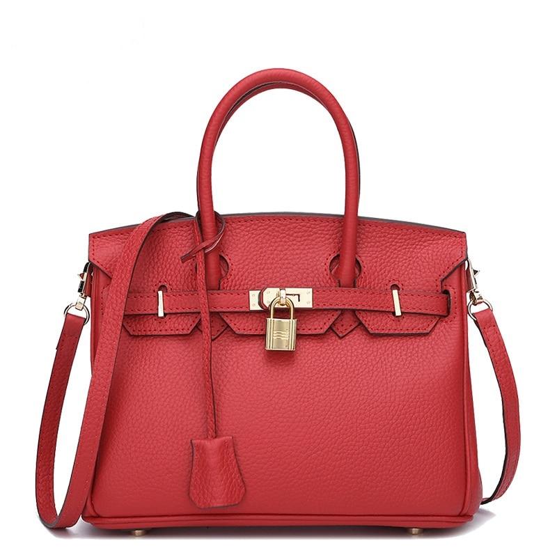 ФОТО HD160318 wholesale  European and American litchi grain head layer cowhide leather shoulder bag lock platinum leather handbag