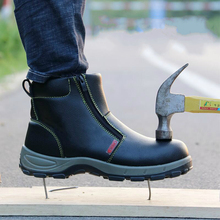 large size men casual steel toe cap working safety shoes anti-pierce cow leather spring autumn tooling security ankle boots male стоимость