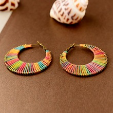 TopHanqi 2019 Rainbow Raffia Winding Hoop Earrings For Women Handmade Statement Fashion Jewelry Accessories Big Round Earring