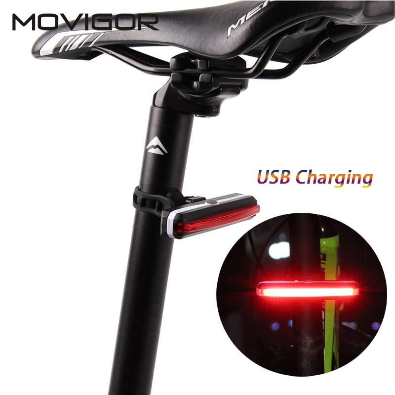 HOT Movigor USB Rechargeable Bike Bakljus Vattentät Cykel Bakljus Cykling Bakljus Säte Post LED Lampa för Natt Säkerhet