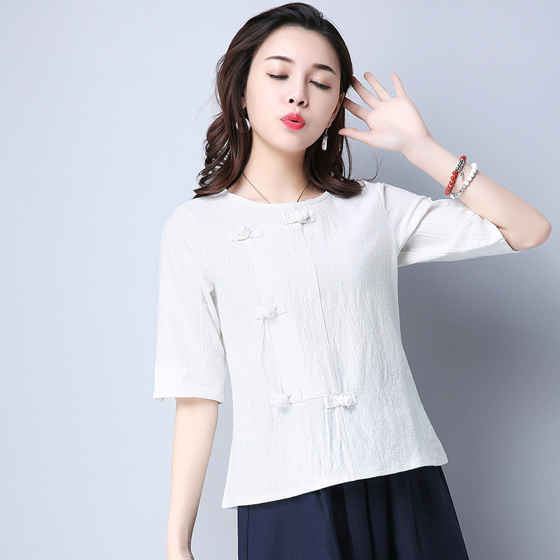 Cotton 2018 Summer Half Sleeve Loose Lady Vintage Women Shirt O Neck Chinese Style Linen T-Shirt Button 3XL 2