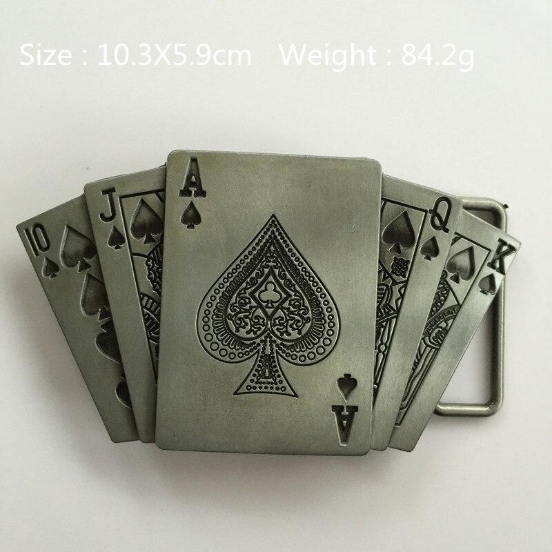 Retail New Style 10JQKA Cards belt buckle 10.3*5.9cm 84.2g Silver Black Metal For 4cm Wide Belt Fashion Men Jeans accessories