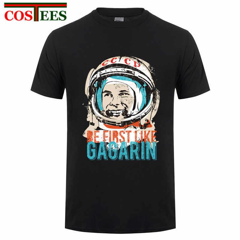 Rusia Pro Kitty Kemeja Menjadi Yang Pertama Seperti Yuri Gagarin T Kemeja Pria Merek Pakaian Kustom Lengan Pendek Soviet Cosmonaut 1961 camiseta