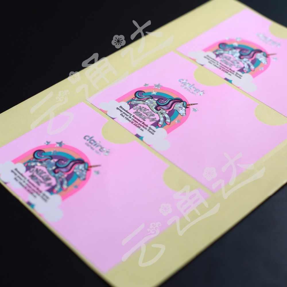 Autocollants personnalisés/logo en plastique PVC vinyle papier transparent transparent adhésif rond hologramme papeterie autocollant étiquettes impression