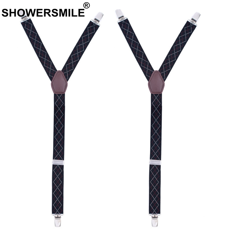 Apparel Accessories Lower Price with Showersmile Jacquard Shirt Stays Men 2.5*70cm Black Galluses Argyle Elastic Sock Suspenders Male 3 Clips Shirt Garters Y Shape Pleasant To The Palate