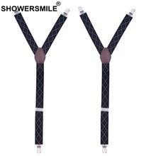0fcacbd3f5f SHOWERSMILE Jacquard Shirt Stays Men 2.5 70cm Black Galluses Argyle Elastic  Sock Suspenders Male 3 Clips Shirt Garters Y Shape