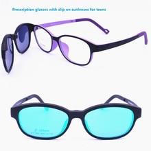 90a32e64abe8 1302 ULTEM rounded square prescription glasses with megnatic clip on  removable polarized sunglasses lens handy eyewear