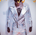 2016 mens PU leather outerwear coat Clothing slim gold silver motorcycle male singer outfit costume  wear