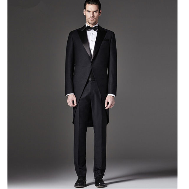 Online Shop Groom Tuxedos Dovetail suit Slim Fit Custom Made ...
