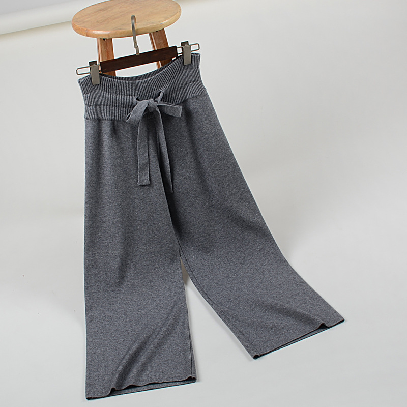 Invierno El gris Punto Negro caqui De Nueva Mujer Delgado 2018 Suéter Cintura Y Ancho Ocasional Pantalones Pantalón Recto Otoño Pajarita Suelta t4Hqvwx