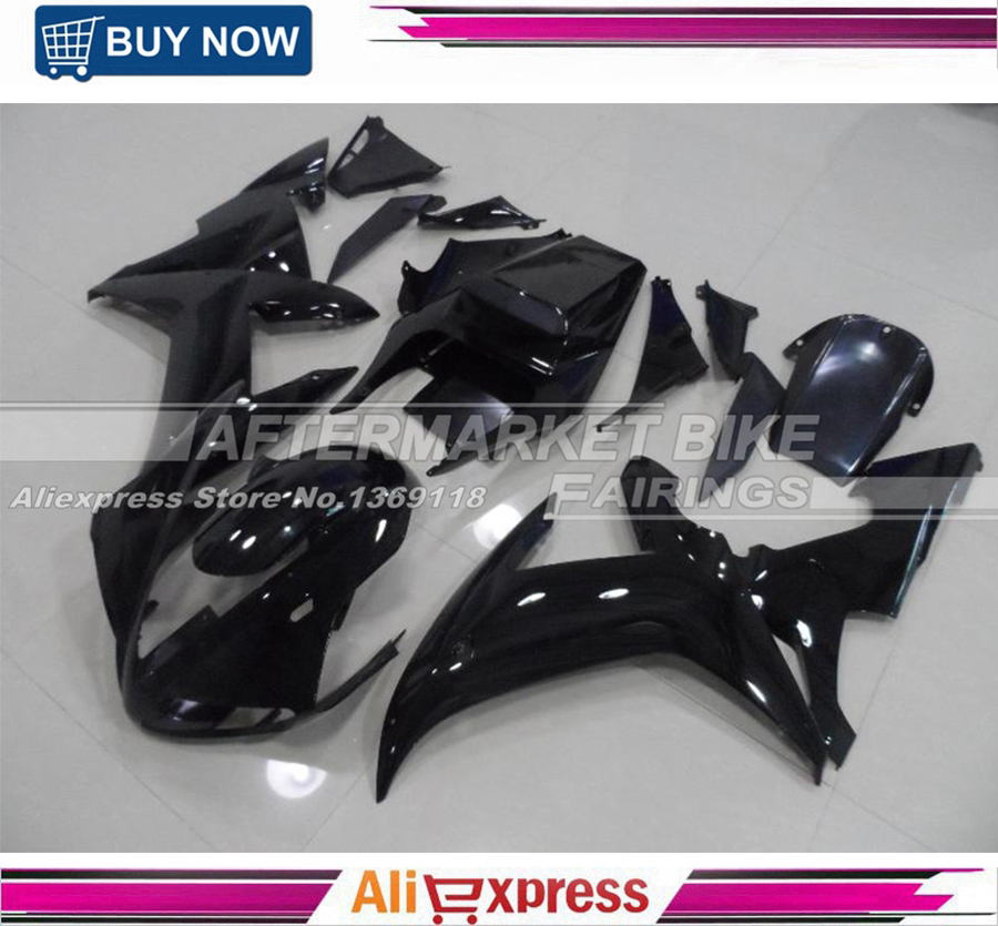 YZF R1 2002 2003 All Gloss Black Complete Fairing Kit For Yamaha YZFR1 02 03 Fairings Cowling