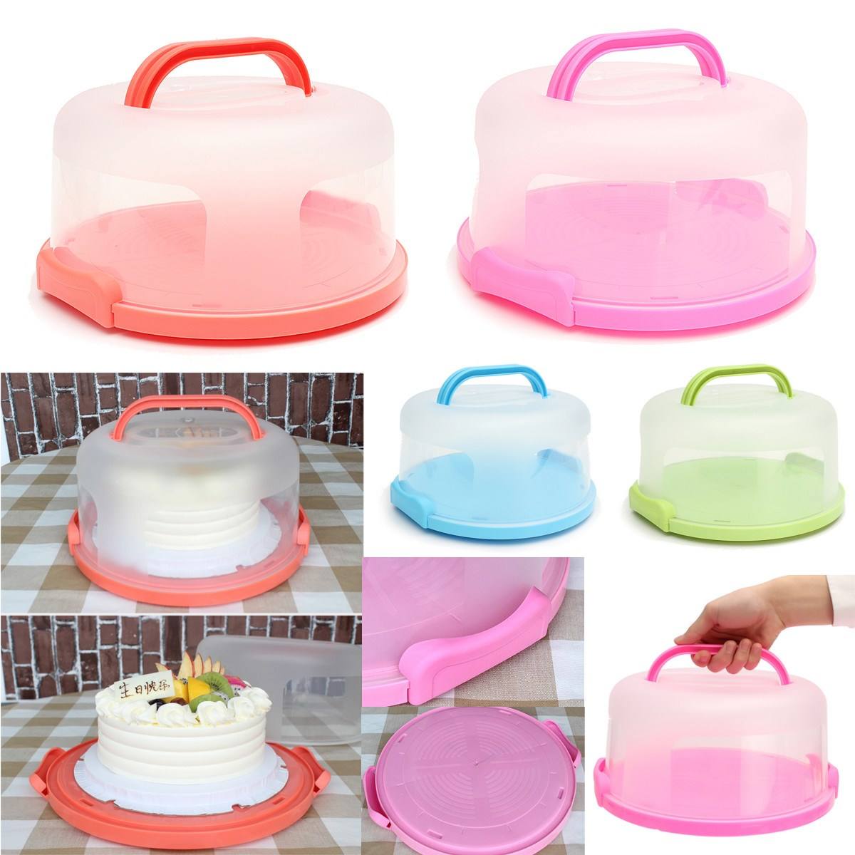 30X15cm Round Cake Carrier Handheld Plastic Pastry Storage Holder
