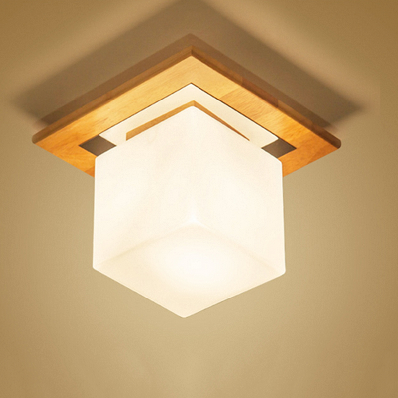 Simple Style Ceiling Light Wooden Porch Lamp Square Ceiling Lamp Modern Single Head Decorative Lamp For Balcony Corridor Study simple style ceiling light wooden porch lamp square ceiling lamp modern single head decorative lamp for balcony corridor study