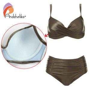 Image 4 - Andzhelika Cao Cấp Bikini Đồ Bơi Nữ Mùa Hè màu Trơn chất liệu vải cao cấp Bikini Bộ Plus Kích Thước Đồ Bơi Áo Tắm