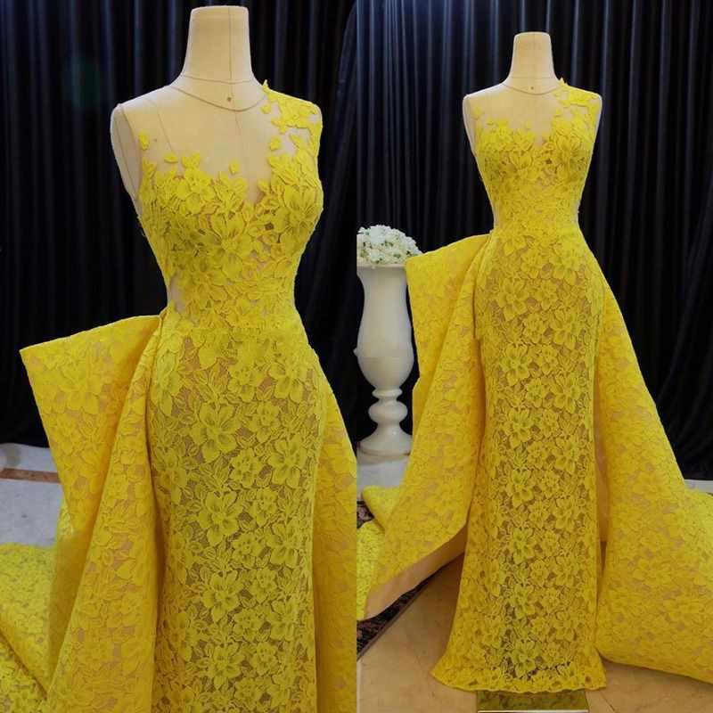 4bb7d49ac3d5a Yellow Evening Gowns abiye gece elbisesi Lace Evening Dresses Elegant robe  de soiree Custom Made Evening Dress Detachable Tail