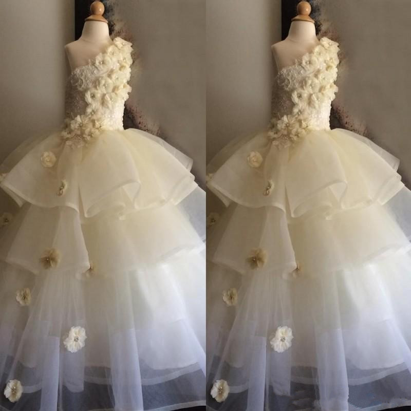 New Tiered Tulle Ivory Flower For Girls Birthday Party Gown Kids Prom Dress Custom Made Flower Girls Gown First Communion Dress new pink custom flower girls dresses tulle handmade flower a line girls pageant birthday dress first communion gown