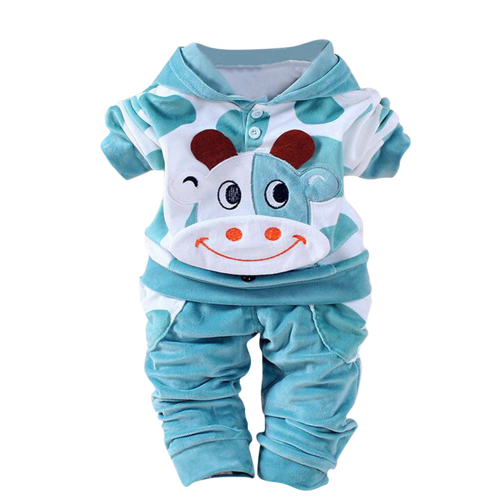 Lovely Newborn Baby Girls Boys Cartoon style Cow Warm Outfits Clothes Velvet Hooded Tops Set Kids Clothes Conjunto Menino