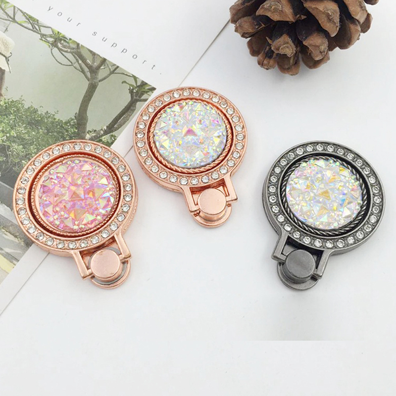 1PC Universal 360 Degree Metal Round Stand Bracket Bling Gemstone Crystal Finger Ring Phone Holderfor Smart Cell Phone 3 Colors
