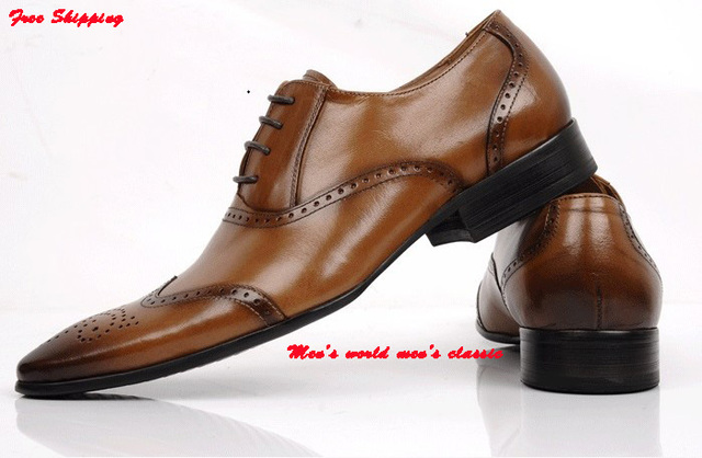 61e0e8399 New Men s Wingtip Black Brown Leather Oxfords Dress Shoes Mens Pointed toe  Lace-Up