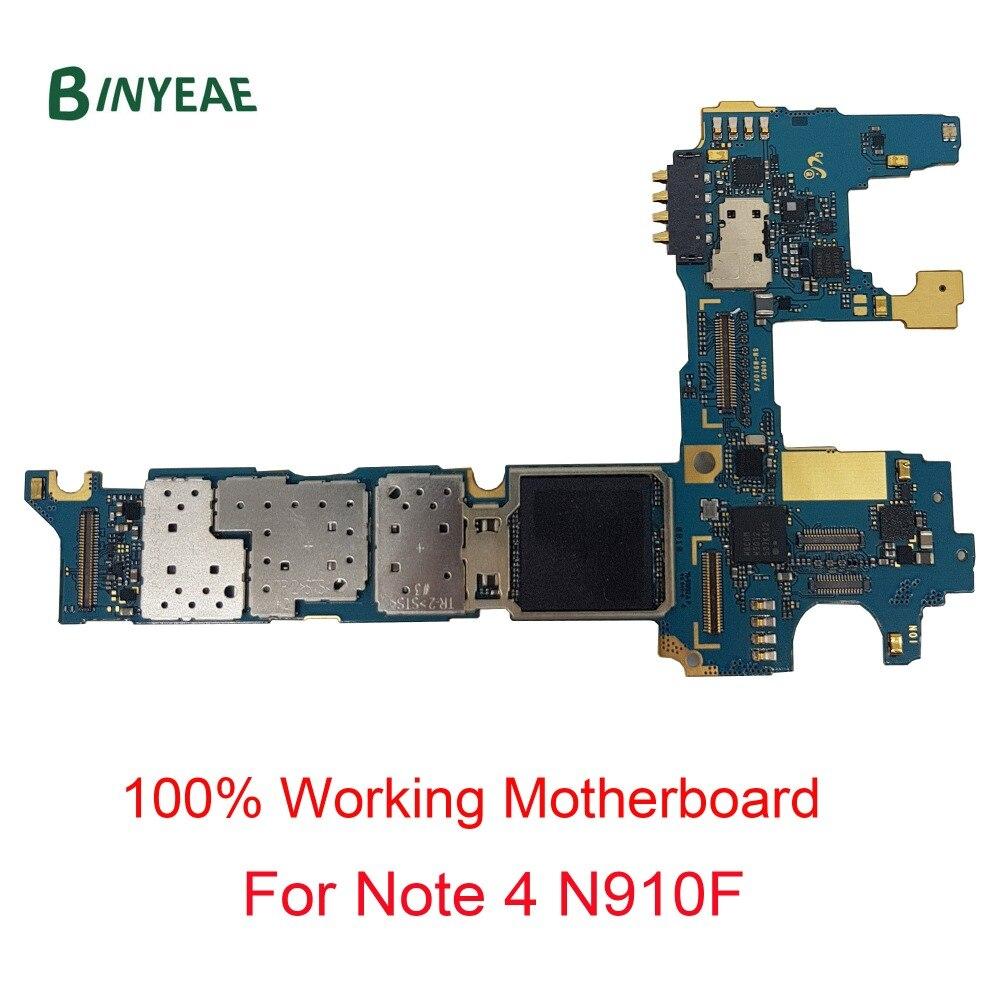 BINYEAE Ersatz Für Samsung Galaxy Note 4 N910F Entsperrt Wichtigsten Motherboard Sauber Imei 32 gb Prüfung Gute