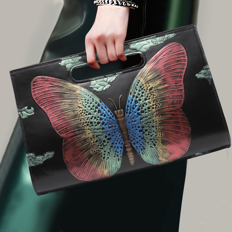 Chinese Stijl Echt Lederen Handtas Mode Elegant Banket Clutch Bag Dames Tas Vintage Vlinder Patroon Schouder Crossbody