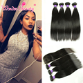 8A Indian Straight Hair With Silk Base CLosure Raw Indian Virgin Hair Weave 4 bundles With Closure Ishow Indian Straight Hair
