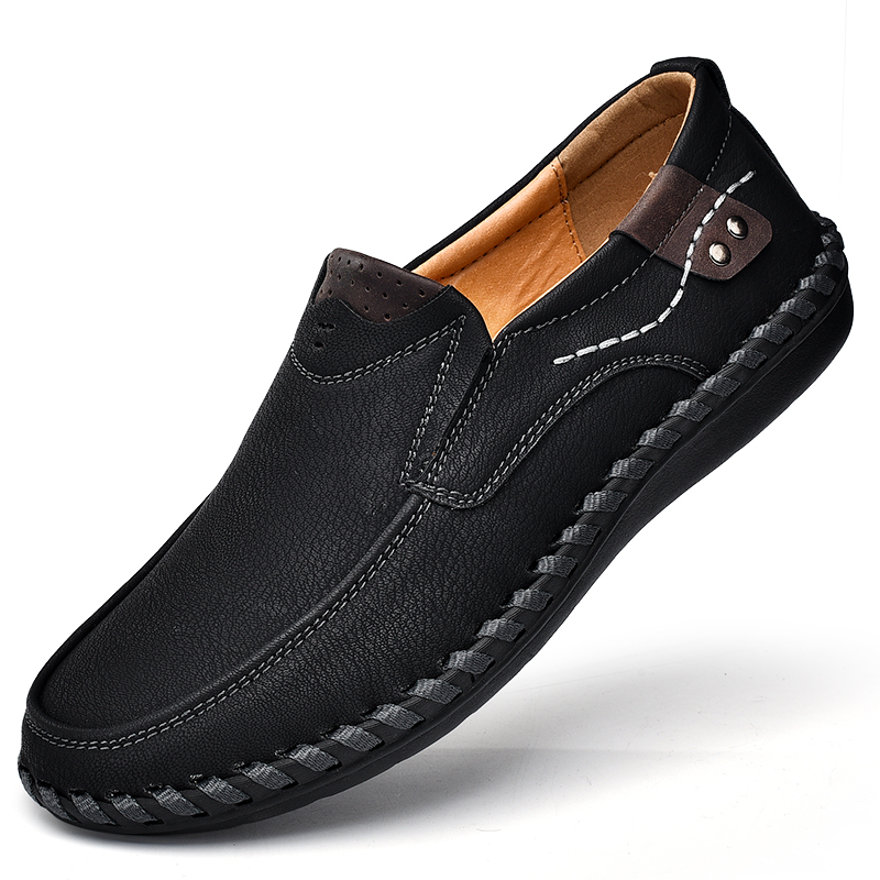Luxury Brand Design Slip On Loafers Men Casual Shoes Genuine Leather Moccasin Boat Walking Shoe Flat