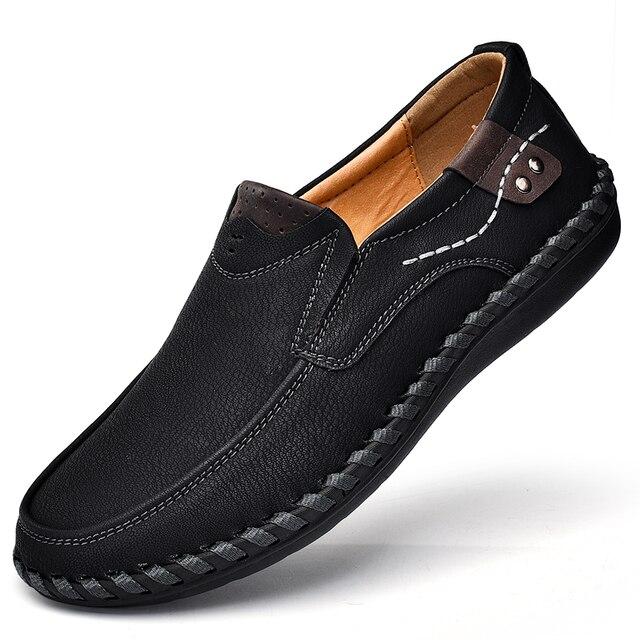 Sang trọng Thiết Kế Thương Hiệu Trượt On Giày Đế Người Đàn Ông Giản Dị Giày Da Chính Hãng Moccasin Thuyền Đi Bộ Giày Phẳng Mannen Giản Dị