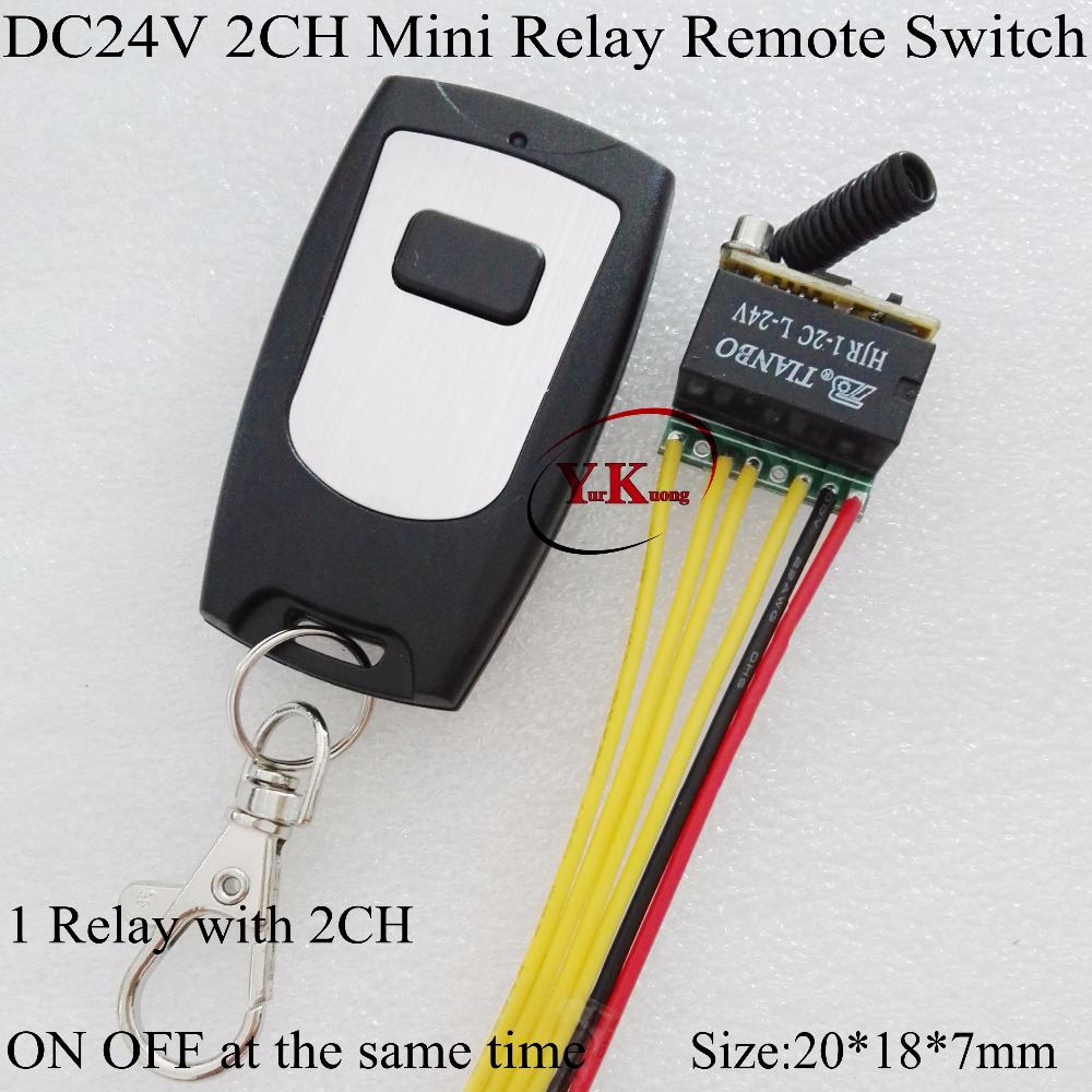 DC24V Small Remote Switch NO COM NC 1 Relay 2CH 2A Contact Wireless Switch 433 radio control system 2CH on off at the same time 315 433mhz 12v 2ch remote control light on off switch 3transmitter 1receiver momentary toggle latched with relay indicator