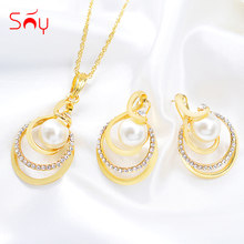 Sunny Jewelry Hot Selling Big Jewelry Set For Women Necklace Earrings Pendant Romantic Jewelry Findings For Engagement Wedding(China)