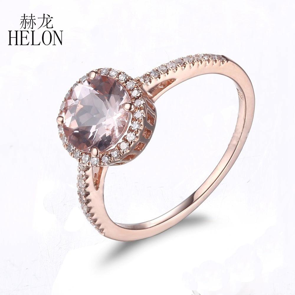 HELON solide 10 K or Rose rond 1.17ct Morganite vrais diamants Halo fiançailles panier anniversaire femmes pierres précieuses bijoux anneau