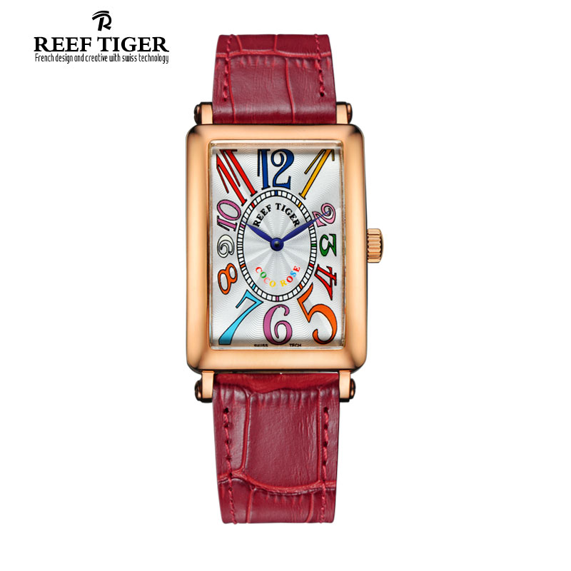 Reef Tiger Luxury Brand Women Watches New Fashion Leather Ladies Quartz Colorful Numeral Rectangular Watch Relogio Feminino meibo brand fashion women hollow flower wristwatch luxury leather strap quartz watch relogio feminino drop shipping gift 2012