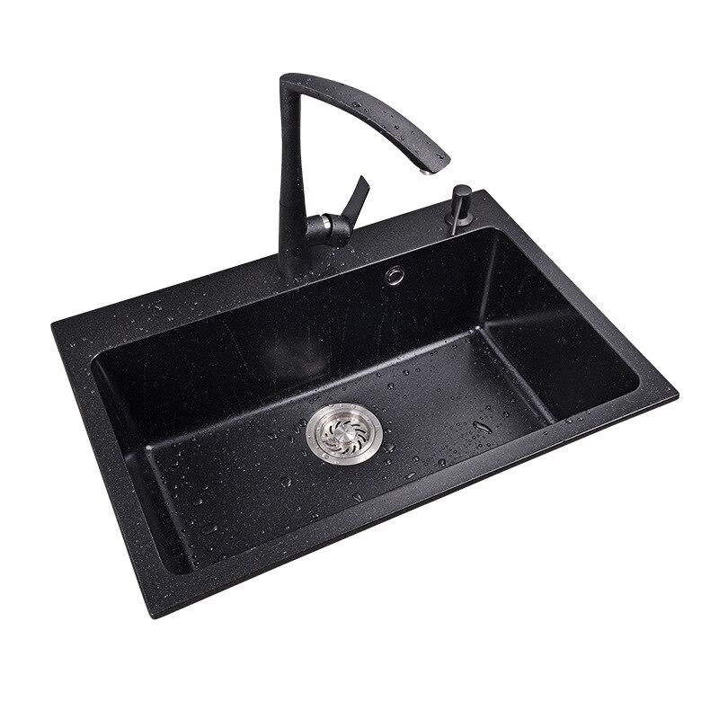 Marble basin Single Kitchen Sink,Mutifunction Washing Basin,Kitchen Hardware Accessories,Thickness 10mm,deck Mounted - 2