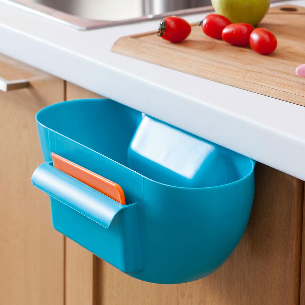 Plastic Storage Box Basket Rack Kitchen Trash Bin Desktop Organizer ...