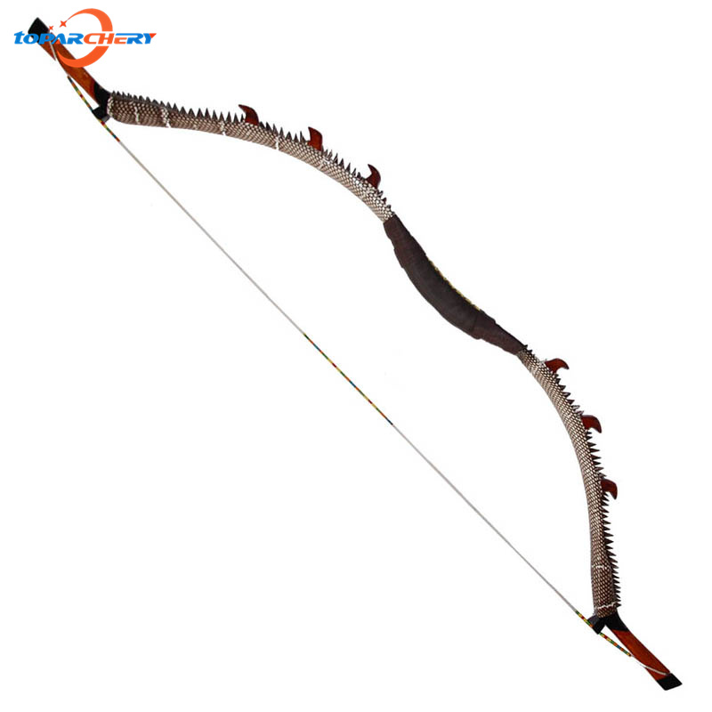 56'' Length Traditional Snakeskin Recurve Long Bow 45lbs 50lbs Fiberglass Laminated Wooden Bow for Archery Hunting Shooting Game 35lbs long bow archery hunting black color for adults archery game traditional wooden made hunting bow 1pc